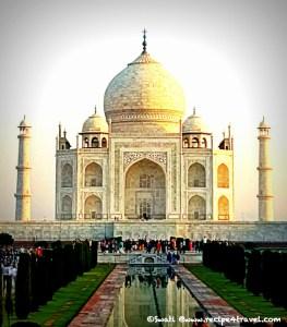 Taj Mahal glowing in the morning sunlight