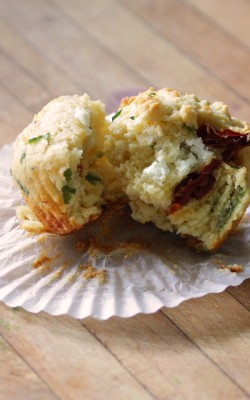 Simple Savory Sundried Tomato, Chevre, and Pecorino Romano Muffins