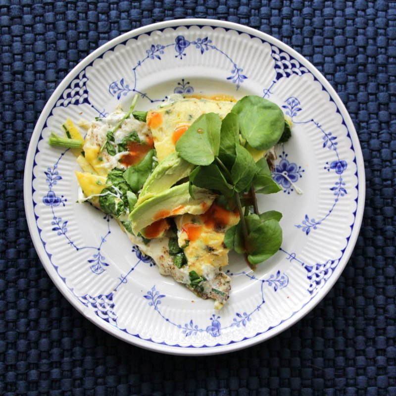 Green Eggs No Ham- Watercress and Fresh Mozzarella Omelet for Two