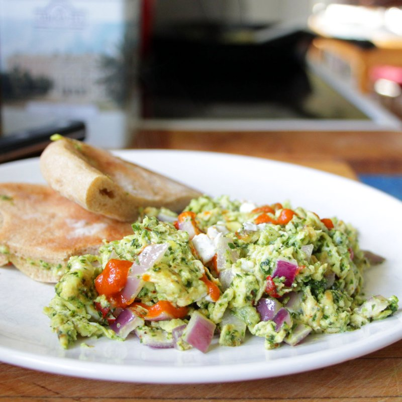 kale pesto and goat cheese scramble