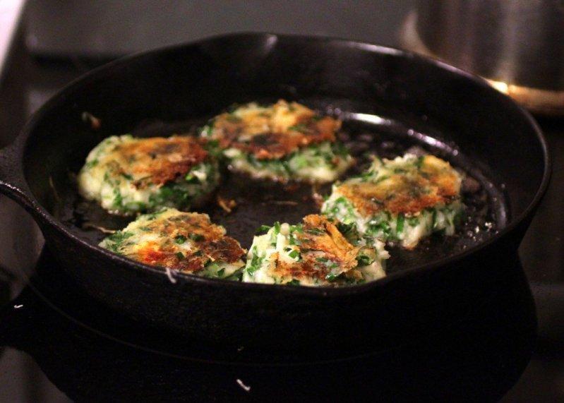 potato pancakes in the pan