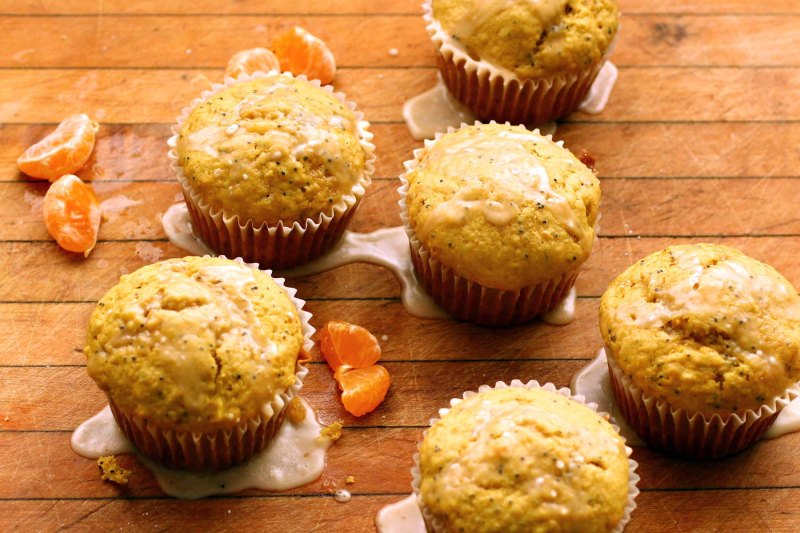 satsuma orange rooibos muffins with an orange glaze