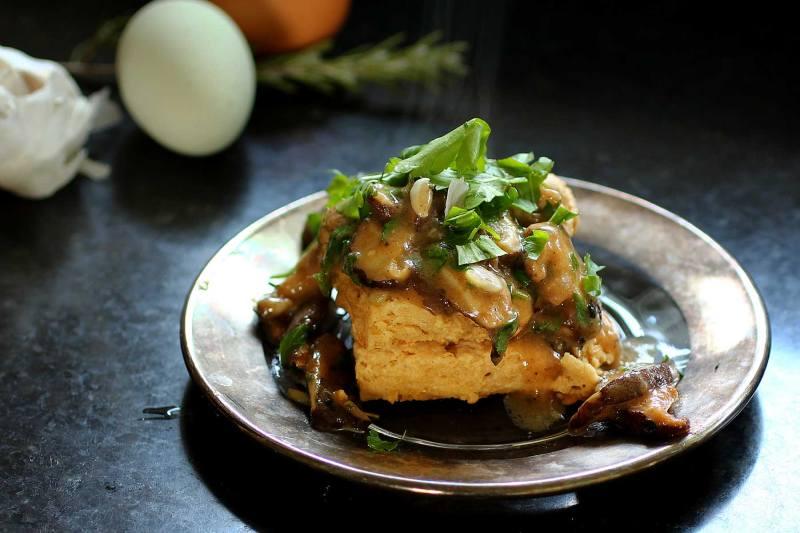 biscuits and shiitake mushroom gravy