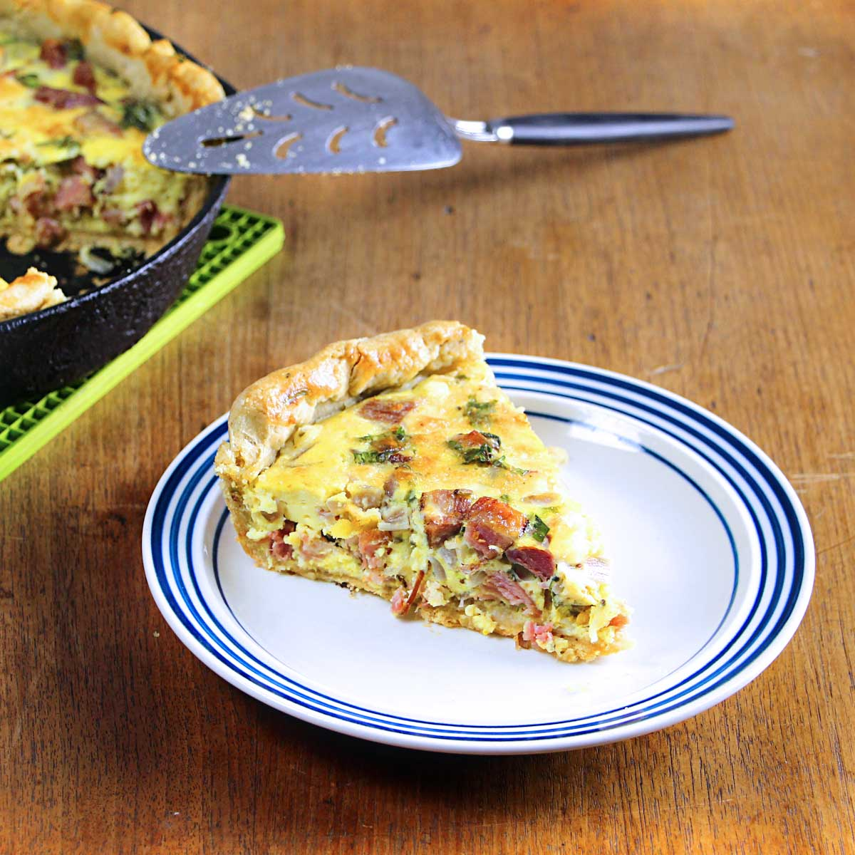 cast iron quiche w/ham and sharp cheddar cheese