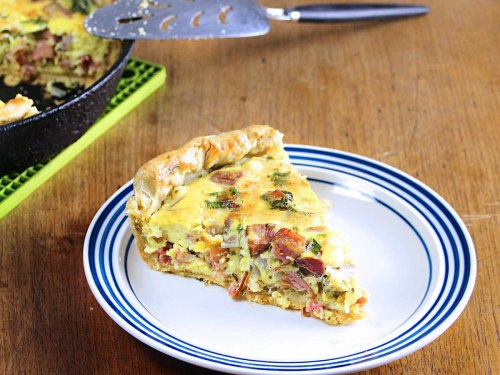cast iron quiche with ham and sharp cheddar