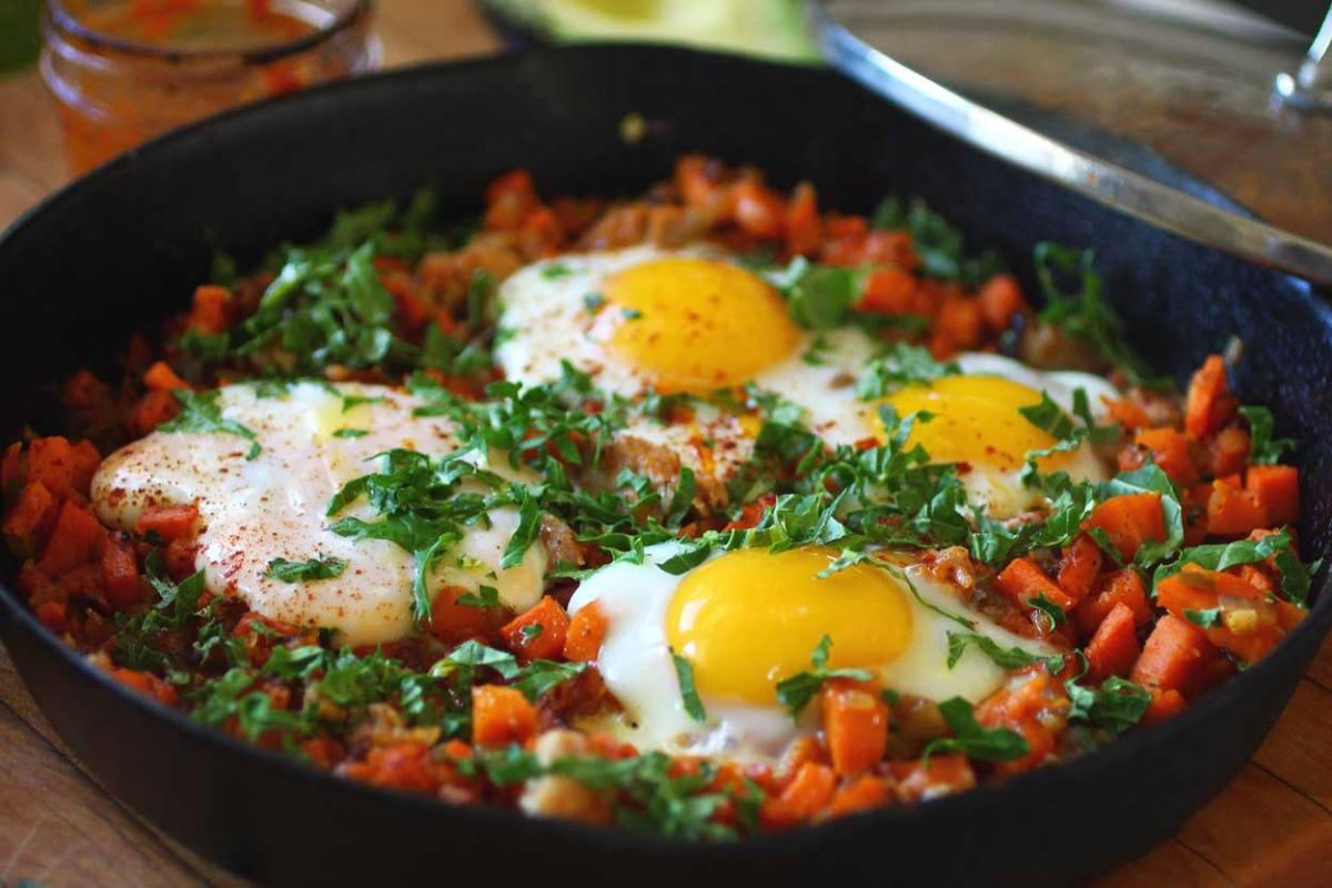 cast iron sweet potato onion hash and eggs