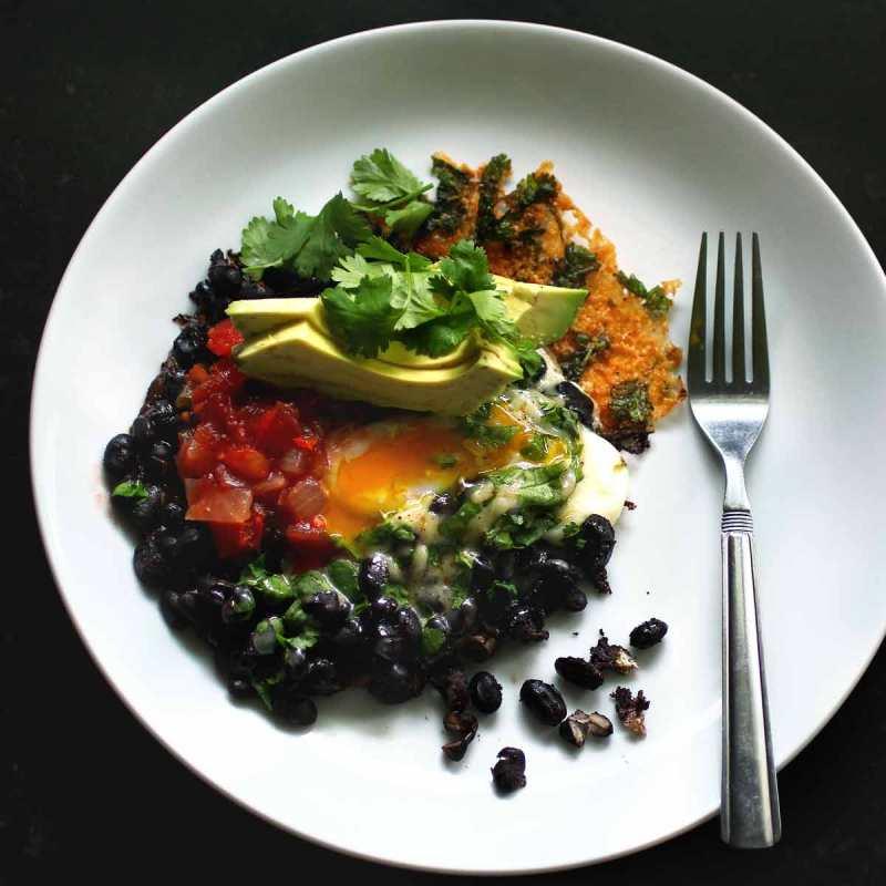 Crispy Cheesy Black Bean Breakfast with egg and avocado