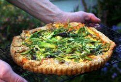 Asparagus Tart with chives, bacon, and goat cheese