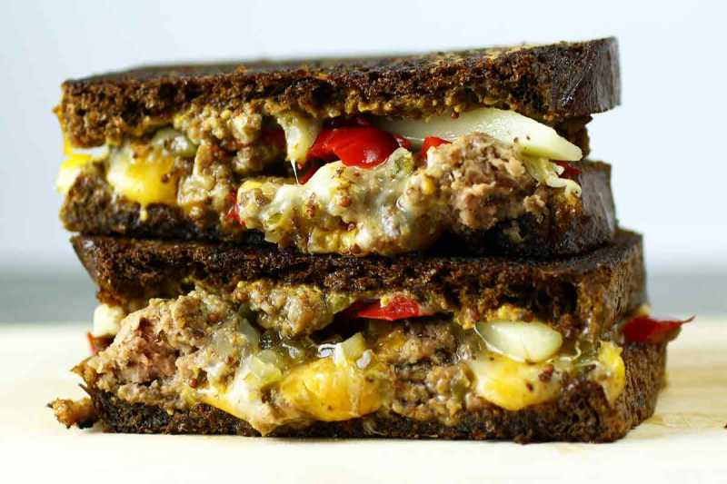 Pickle Pepper Ground Beef Grilled Cheese on Dark Rye