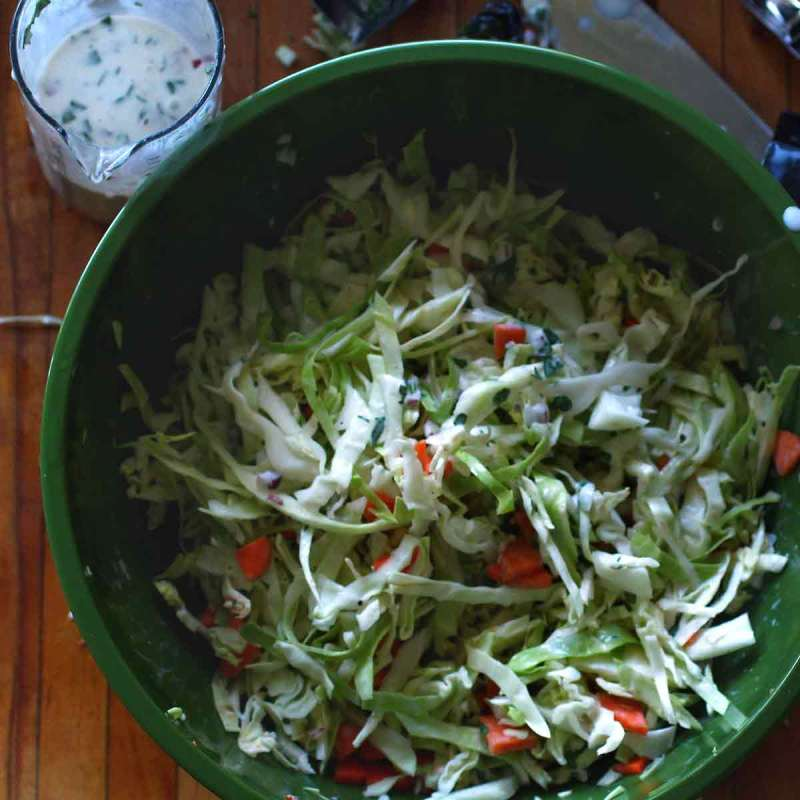 coleslaw with creamy herb buttermilk dressing