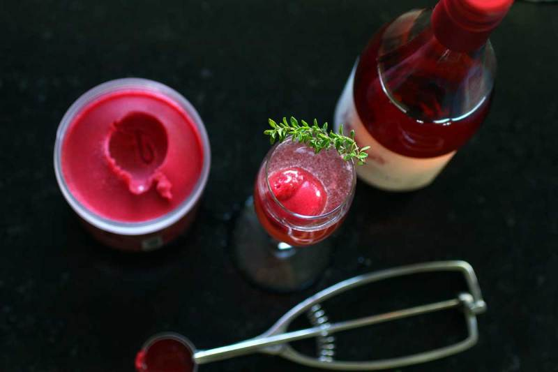 raspberry sorbet and Rosé sipper