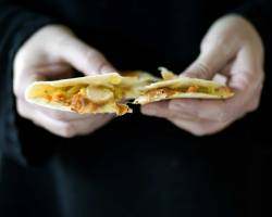 Fried Chicken & Pickled Green Tomato Relish Quesadillas