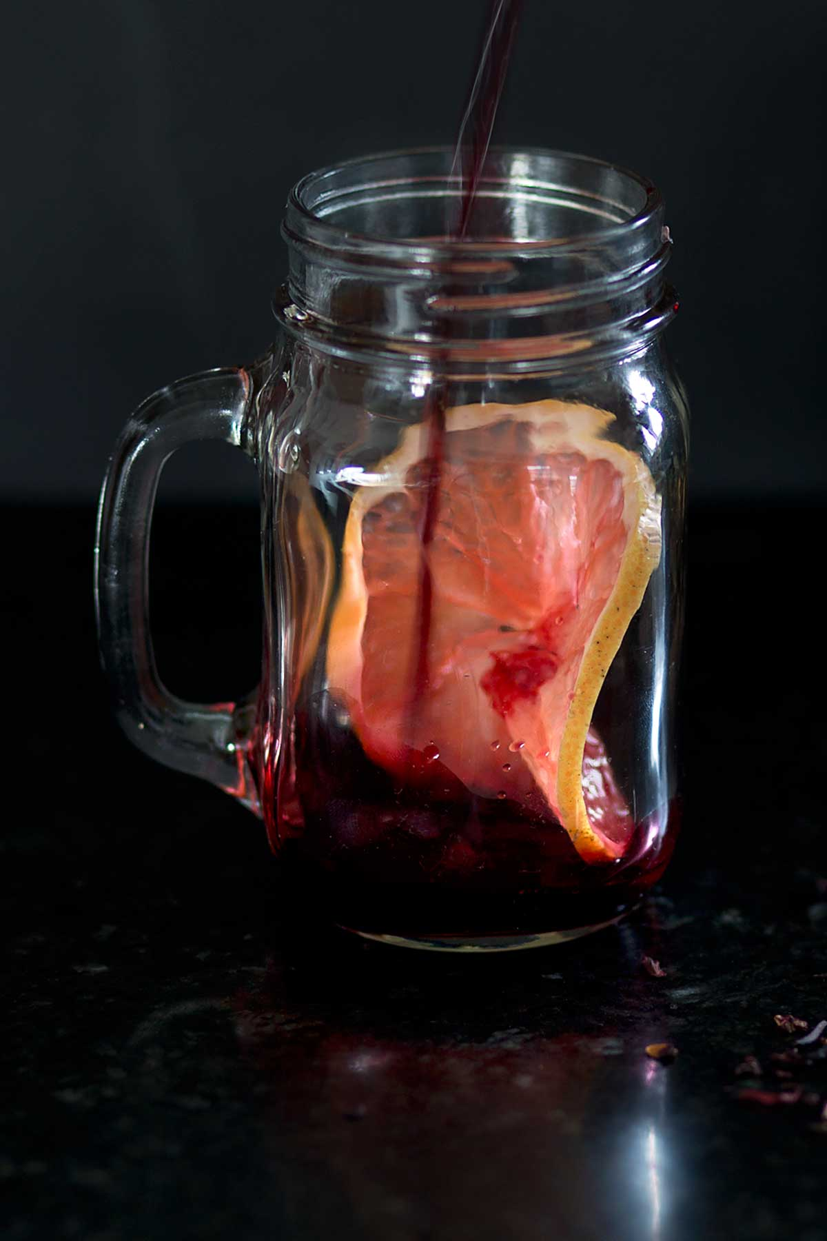 SImple Homemade Hibiscus Syrup for a fresh Grapefruit and Hibiscus Spritzer