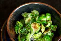 Pan Fried Brussel Sprouts with garlic