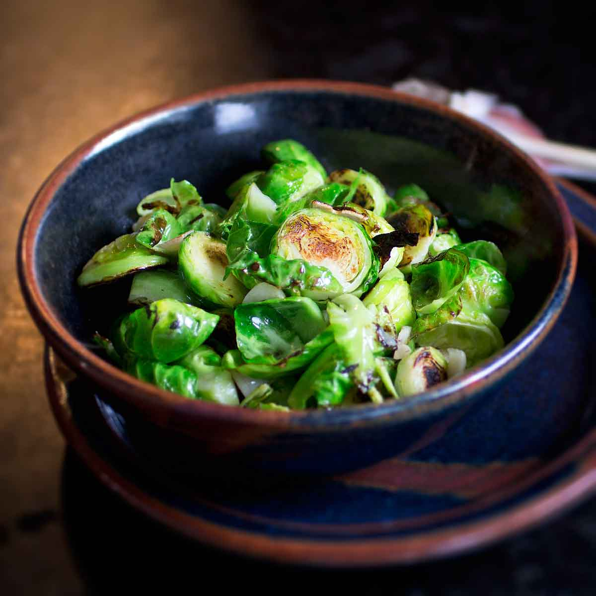 pan fried brussel sprouts with crispy garlic