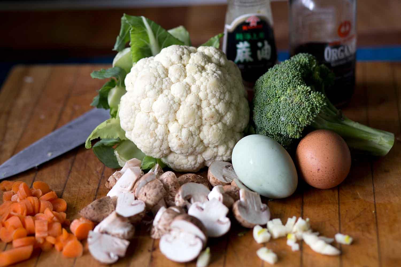 """cauliflower fried """"rice"""" ingredients"""