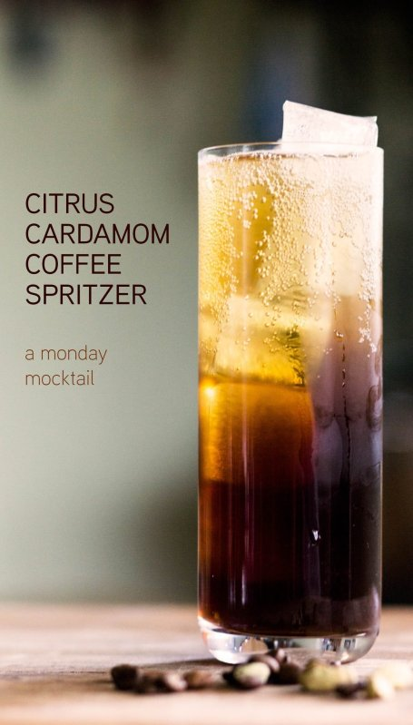 citrus coffee cardamom spritzer mocktail