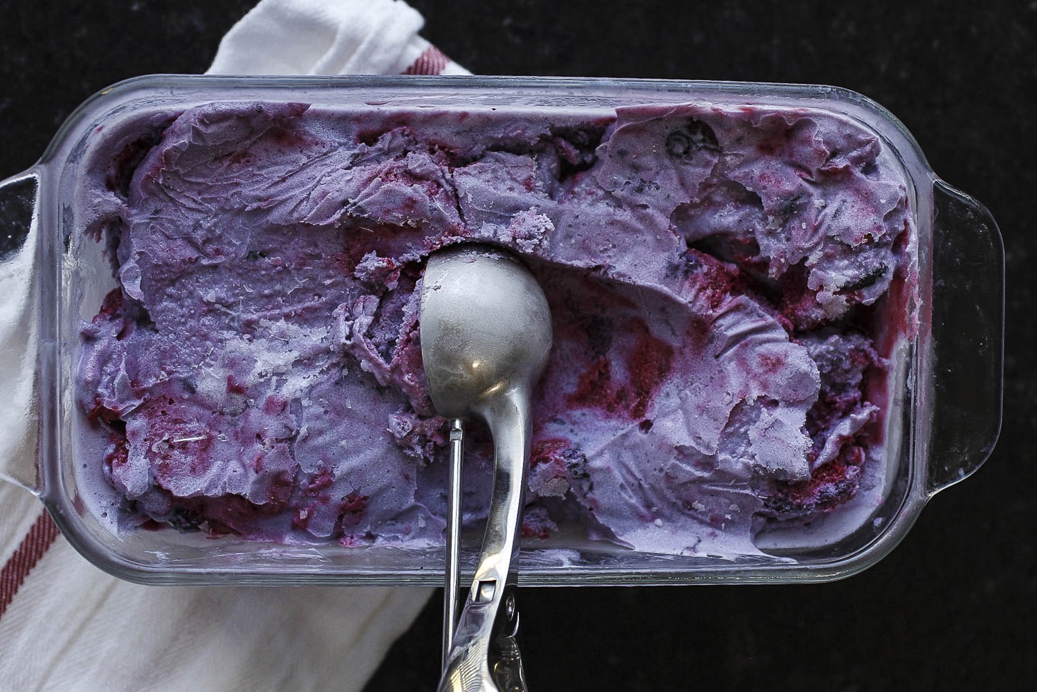 Roasted Blueberry Ice Cream with Raspberry Swirl