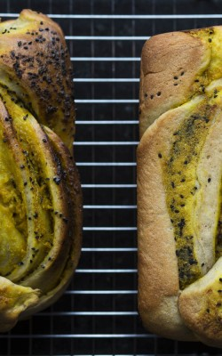 Sesame Turmeric Bread with charnushka seeds and onion