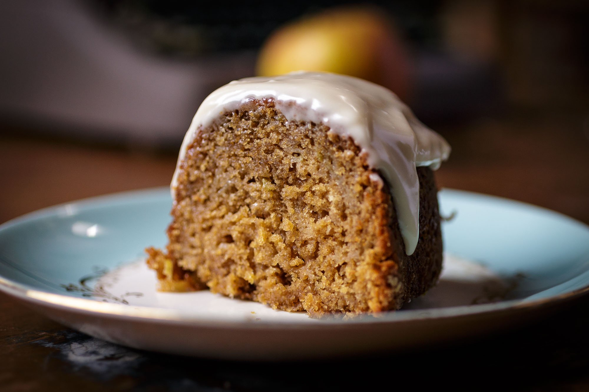 Spiced Apple Bundt Cake w/maple cream cheese frosting close up