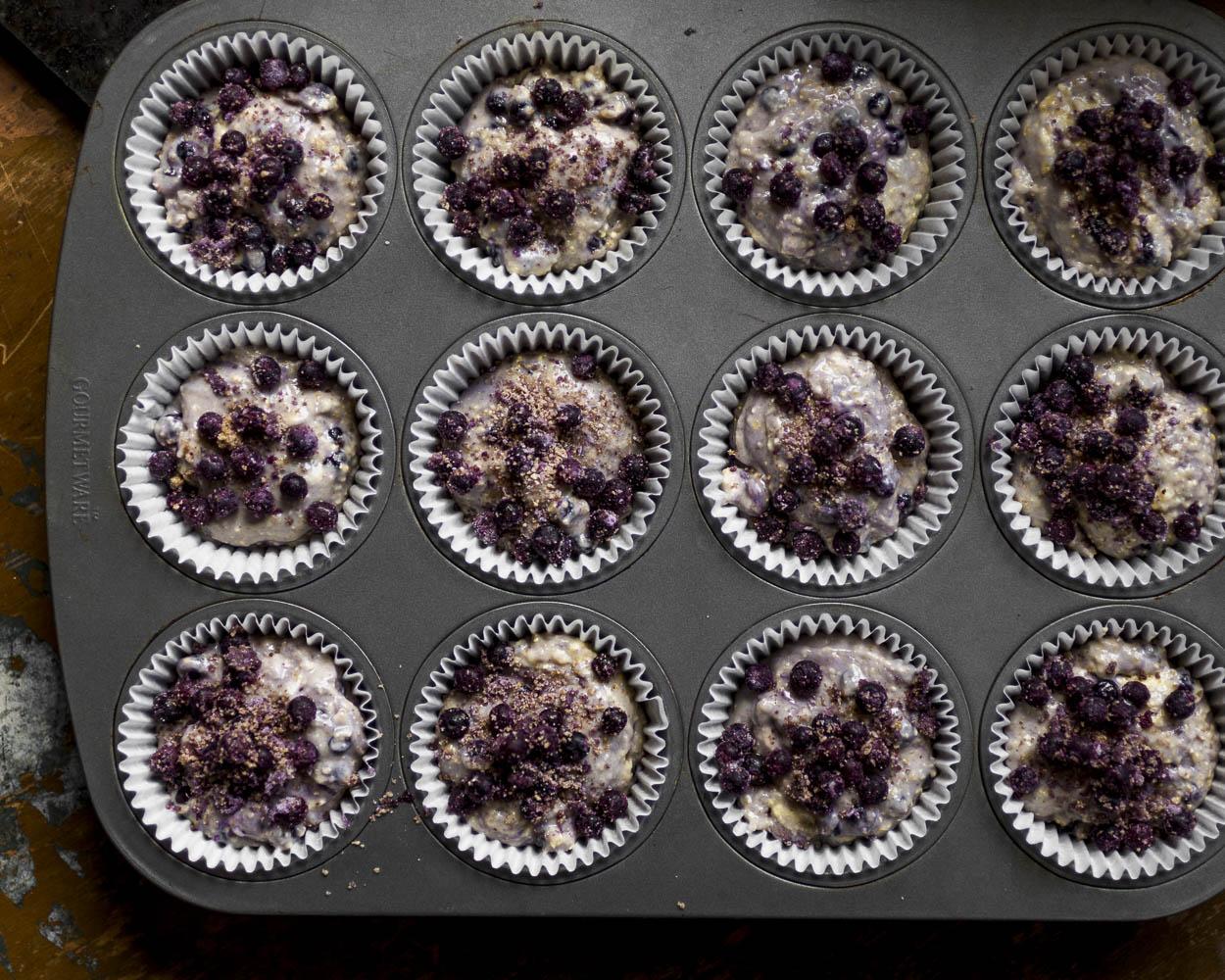 Batter for Wild Blueberry Cornbread Muffins