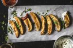 close up of gluten free, shiitake mushroom, crispy oven baked Jo-Jos
