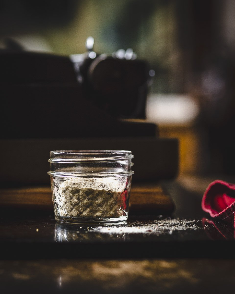 quick and easy mushroom salt in a mason jar
