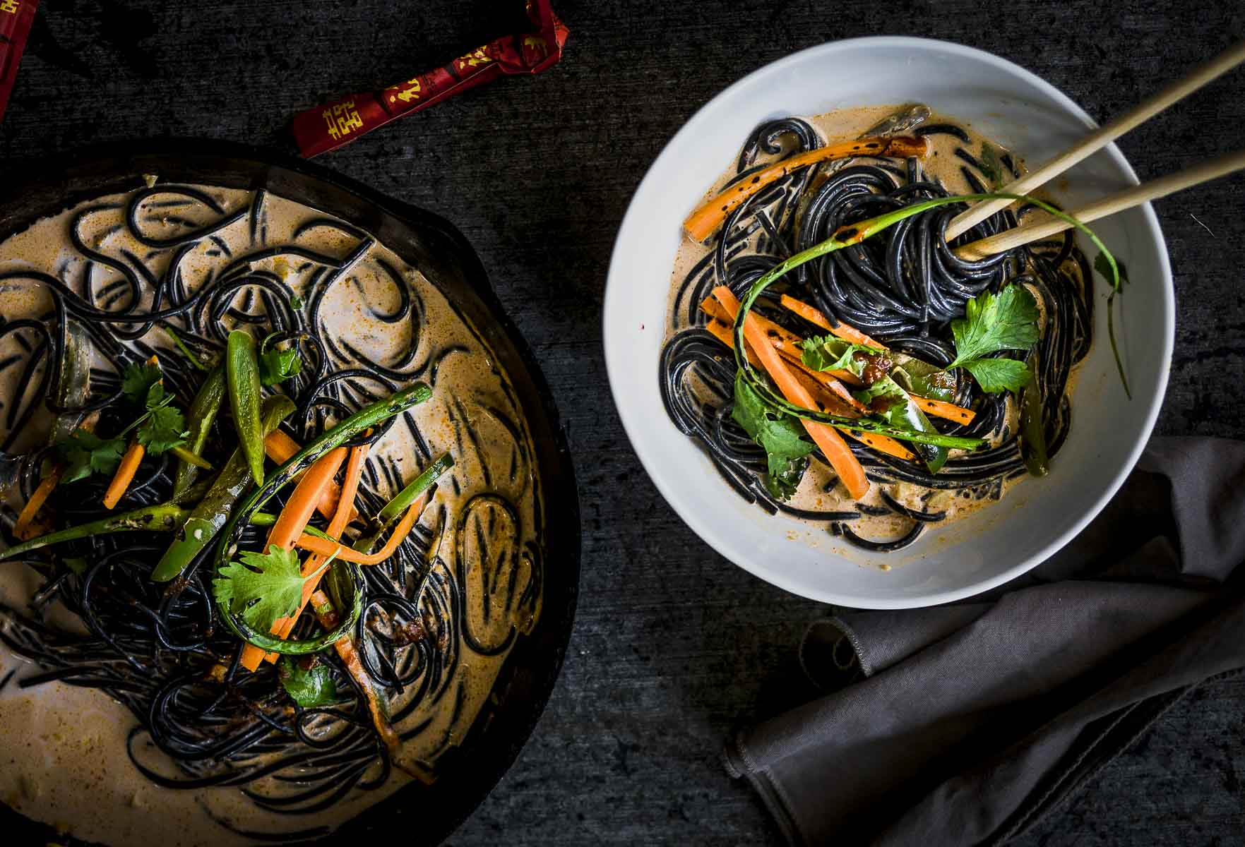 Overhead shot of Coconut Curry Noodles with grilled pickled vegetables
