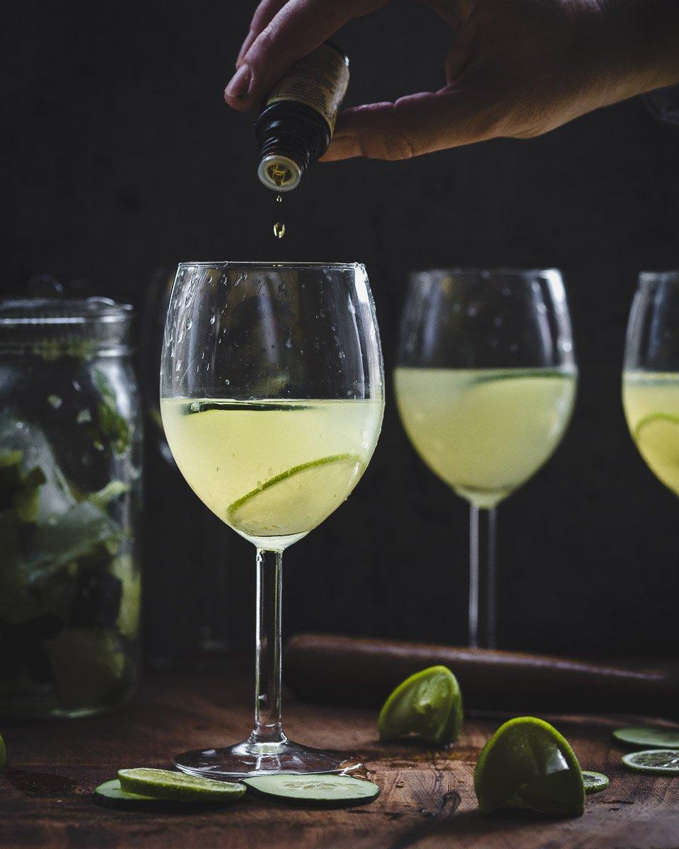 Putting the bitter touch on a Garden Gimlet: gin gimlet w/fresh cucumber, lime, & basil