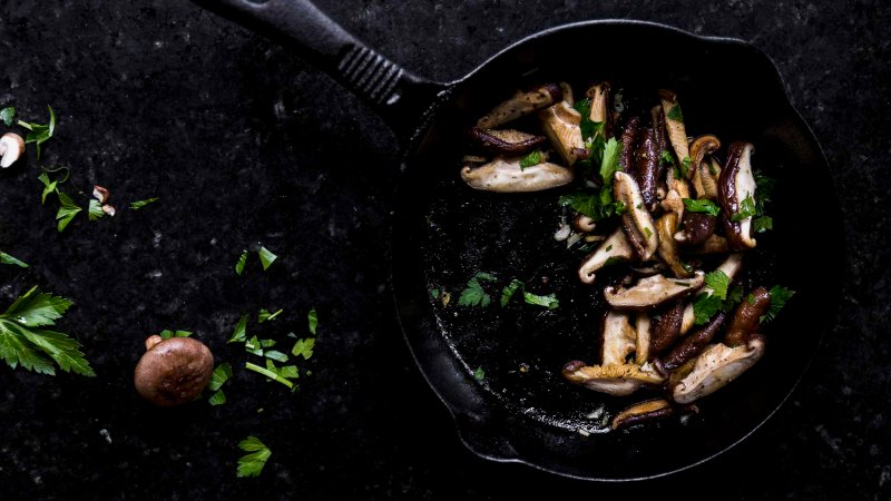 easy sautéed mushrooms: chanterelle, shiitake, or cremini in cast iron