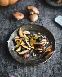 easy sautéed mushrooms: chanterelle, shiitake, or cremini (shiitake shown here)