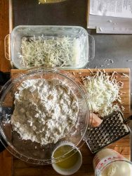 quick cheese bread ingredients being mixed
