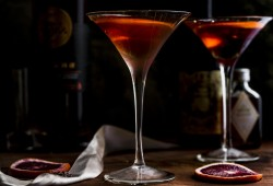 Brandy Manhattan Cocktail with Blood Orange