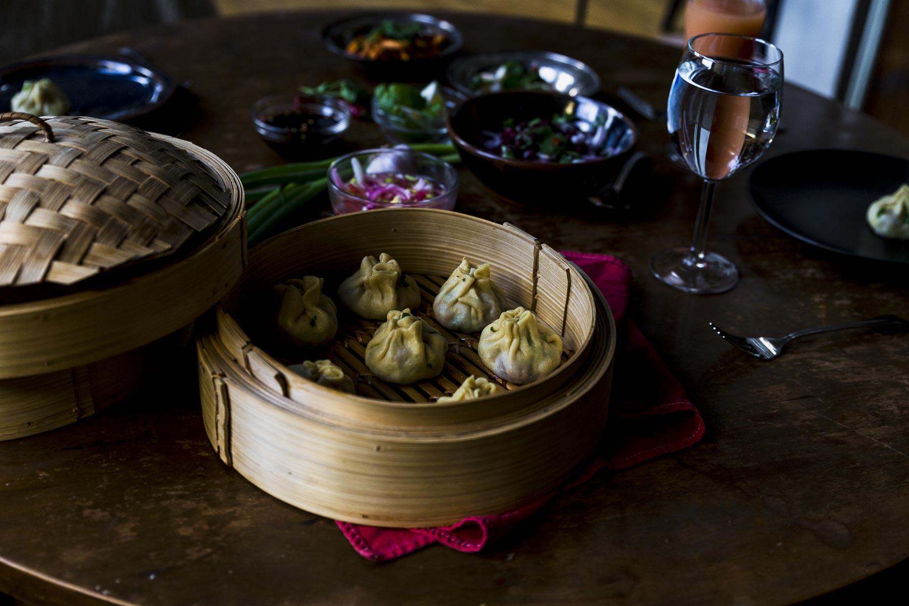 steamed lamb dumplings on the table