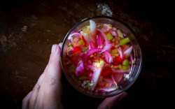 close up of pickled radishes