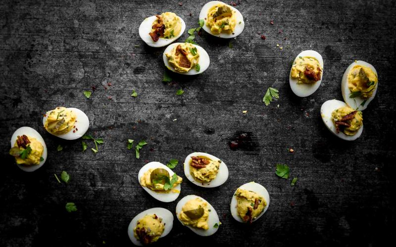 dill pickle brine deviled eggs and french herb deviled eggs from above