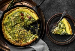 Cast Iron Asparagus Quiche w/chives and swiss cheese