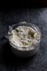 rhubarb scone dough in food processor