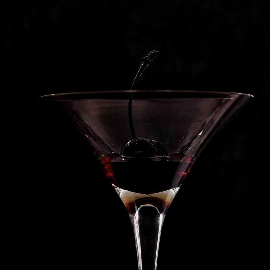 homemade marchino cherry in a martini glass