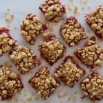 Rhubarb & Strawberry Almond Crumble Bars
