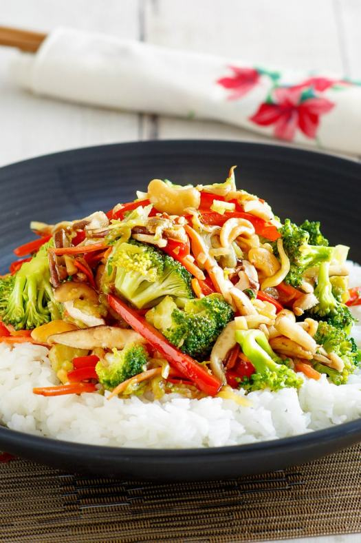 Asian Vegetable Stir Fry served over rice