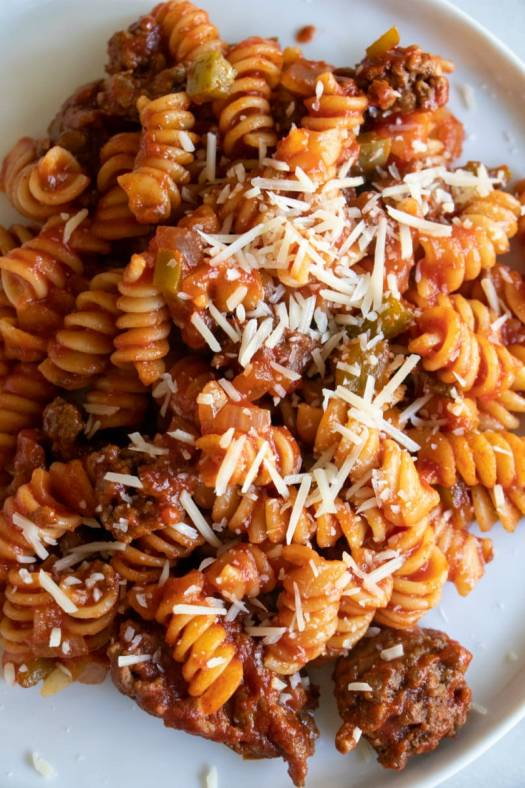 Serving of Tomato Beef Pasta