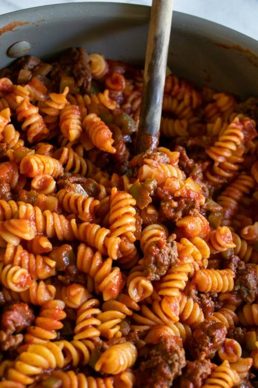 Pot of Tomato Beef Pasta