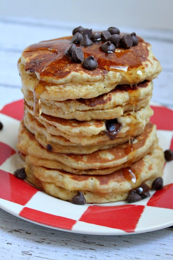 Fluffy Peanut Butter Pancakes #recipe with Chocolate Chips - RecipeGirl.com