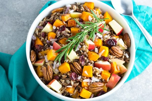 Roasted Butternut Squash and Wild Rice Salad recipe - from RecipeGirl.com