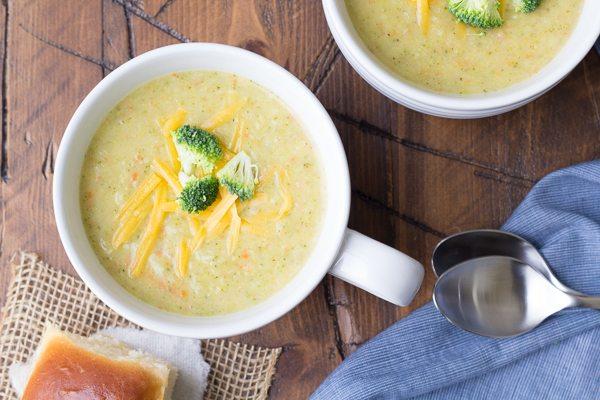 Broccoli Cheddar Soup recipe - from RecipeGirl.com