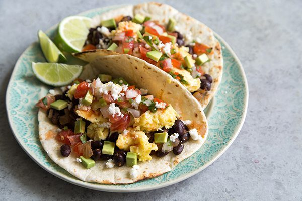 Black Bean Breakfast Tacos - recipe from RecipeGirl.com