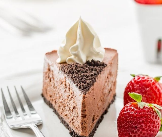 Slice Of No Bake Baileys Chocolate Cheesecake