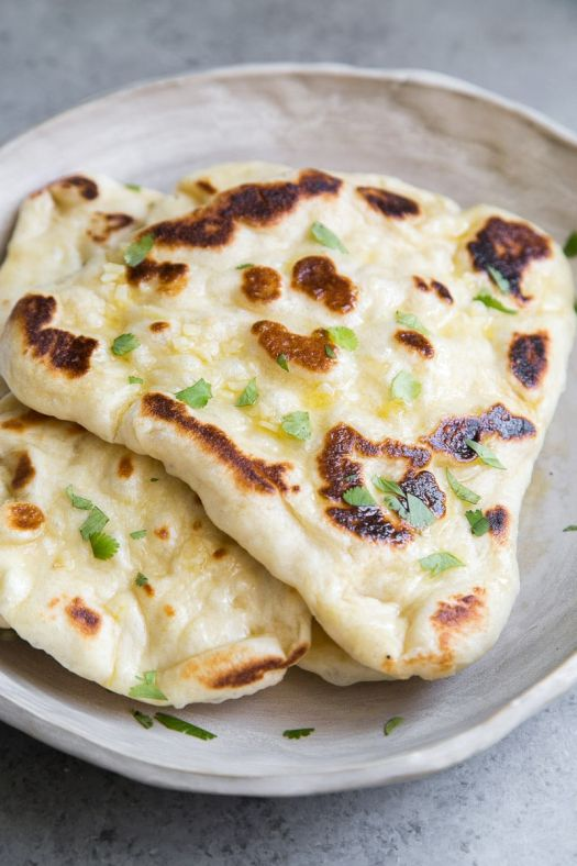 Garlic Naan Bread on a Plate