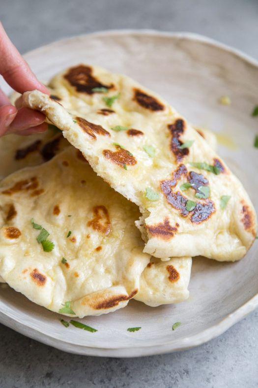 Garlic Naan Bread on a Plate